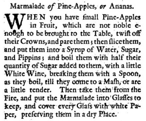 Marmalade of Pine-Apples, or Ananas (1736).