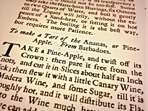 To Make a Tart of the Ananas, from Richard Bradley's 1736 'The Country Housewife and Lady's Director'.
